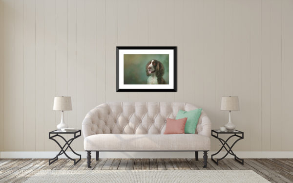 English Springer fine art over sofa